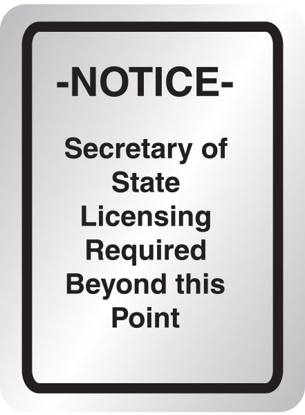 Licensing required sign