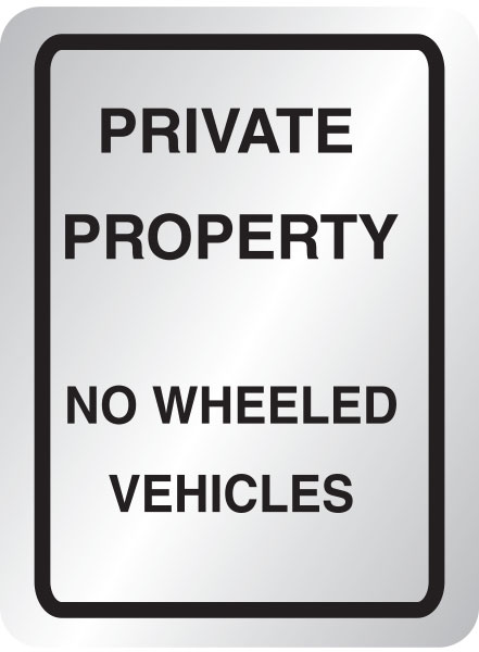 Private property, no wheeled vehicles sign