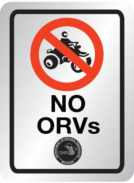 No ORVs allowed sign