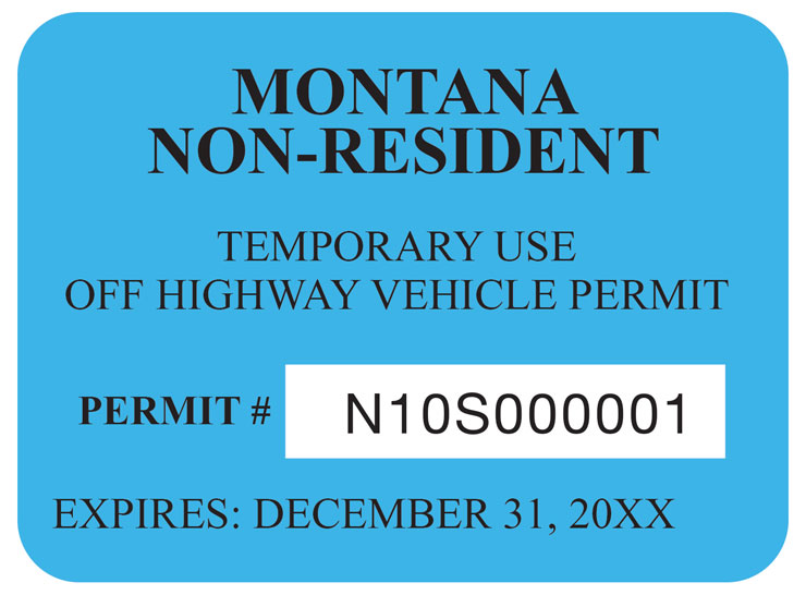 Montana non-resident OHV permit