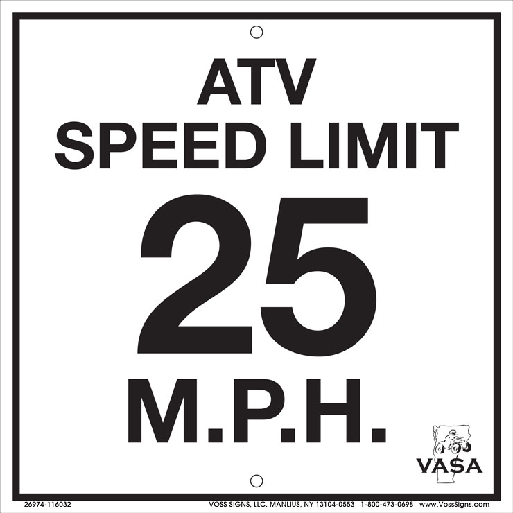 Vermont ATV speed limit 25mph