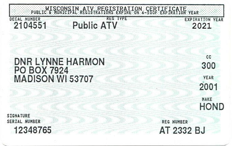Wisconsin ATV registration certificate