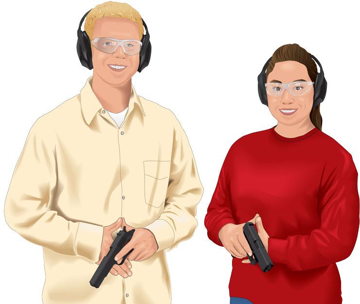 People handling handguns safely