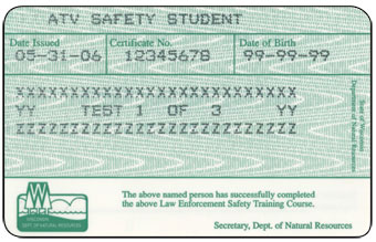 Wisconsin ATV safety certificate card