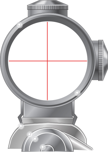Telescopic sight with dials for making adjustments