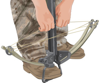 Manually cocking a crossbow