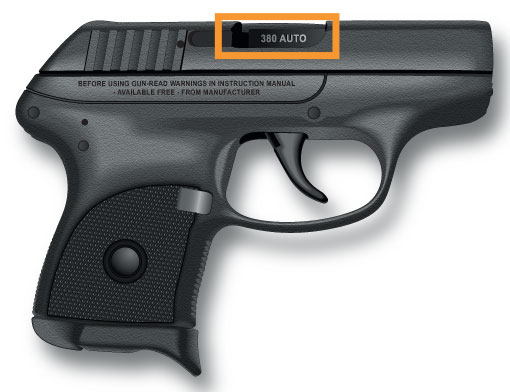 Data stamp on a semi-automatic pistol