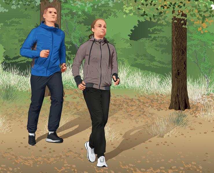 Man jogging behind woman