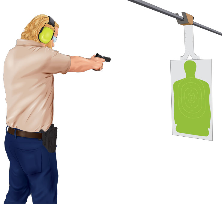 Aiming a handgun at a target
