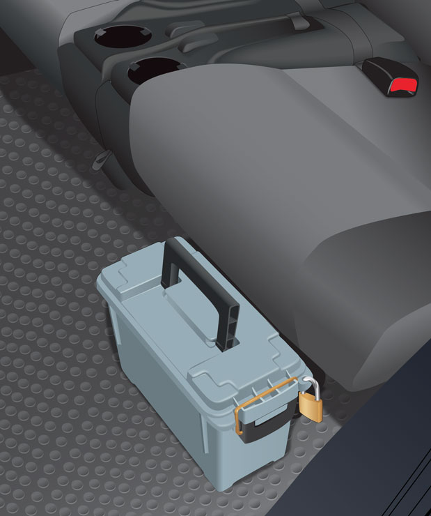 Ammunition locked in case inside vehicle