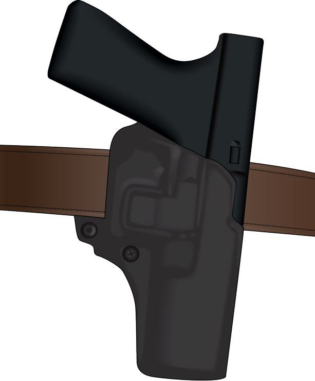 Handgun in belt holster