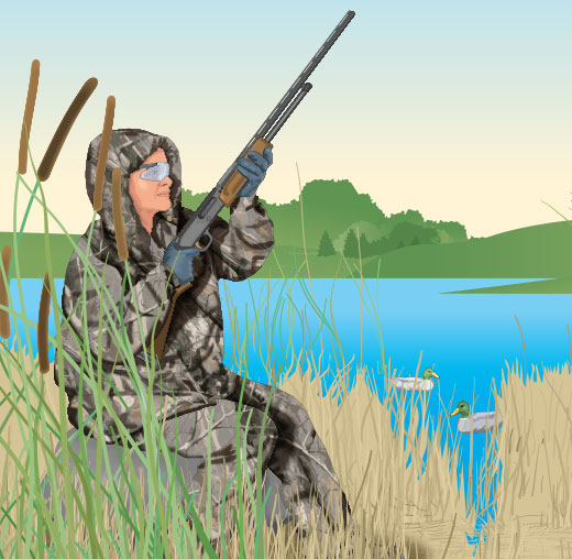 Hunter posting in a marsh
