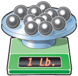 Lead balls on scale weighing one pound