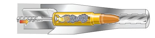 Cutaway: Firing pin strikes primer