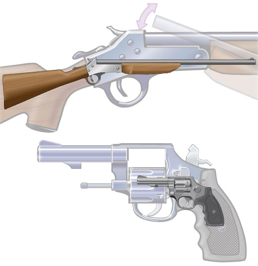 Firearm actions on a rifle and a revolver