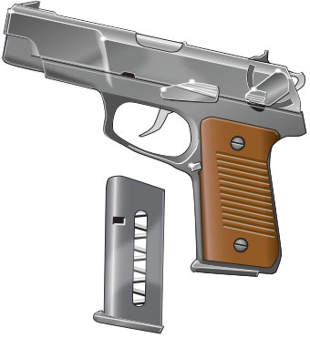 Magazine with a semi-automatic pistol