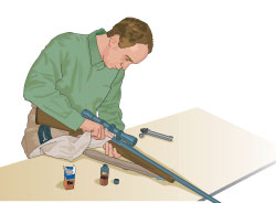 Step 2 of cleaning a firearm: Bore should be cleaned through breech end where possible.