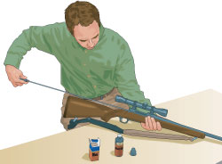 Step 4 of cleaning a firearm: Run oily patch through barrel.