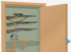 Step 6 of cleaning a firearm:  Store in horizontal position, or with muzzle pointing down.