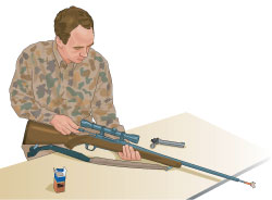 Step 7 of cleaning a firearm: After storage, run a clean patch through bore before firing.