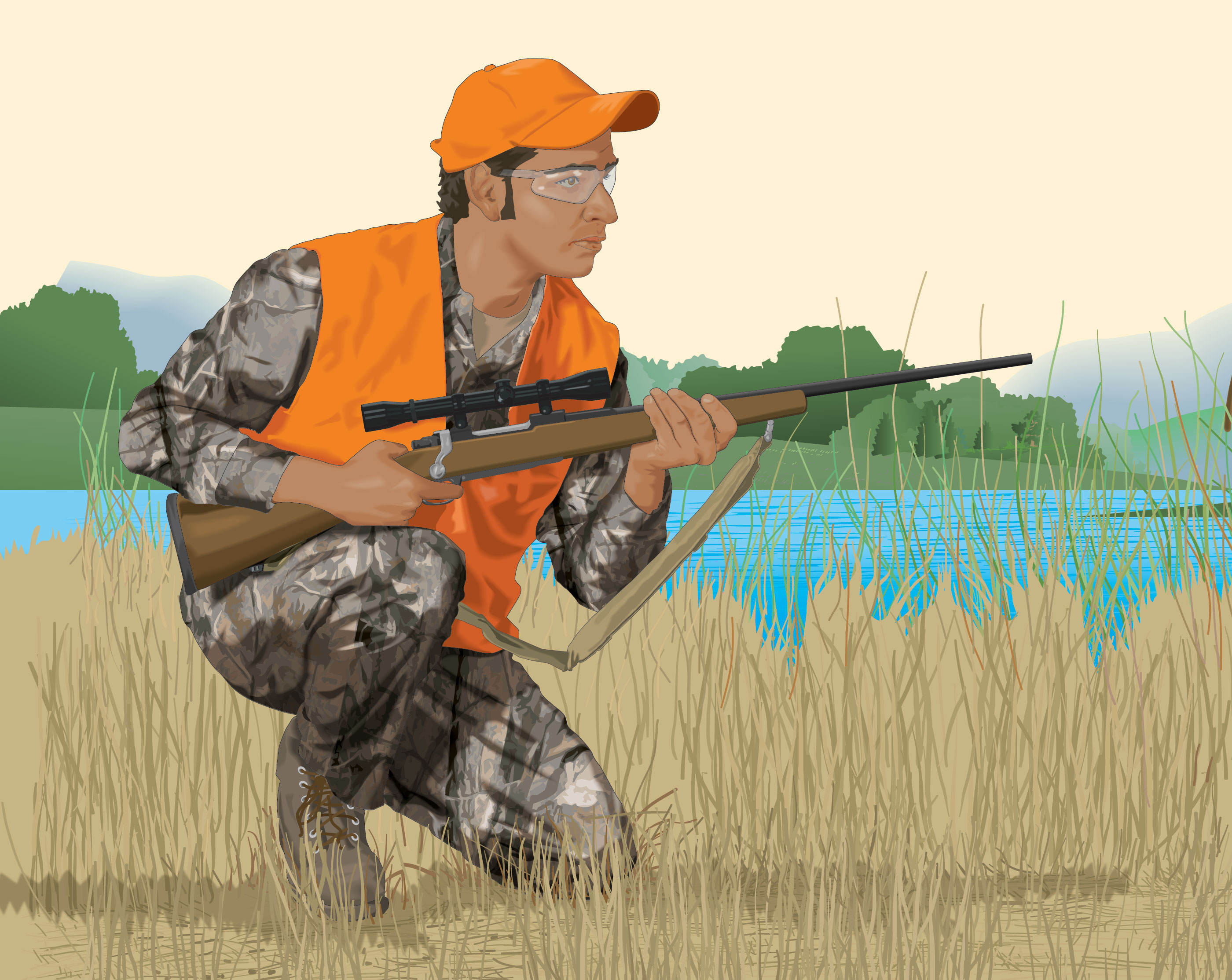 Still hunter crouching by edge of marsh