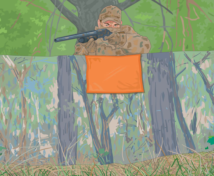 Hunter in ground blind