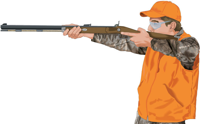 Shooter firing muzzleloader