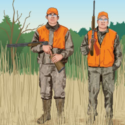 Hunters carrying firearms safely