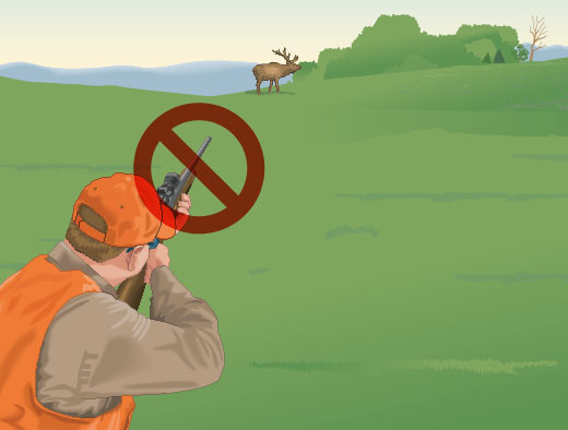 Hunter aiming at unsafe target