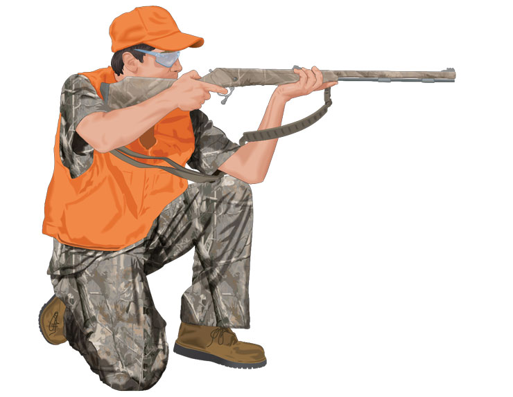 Hunter aiming muzzleloader in kneeling position