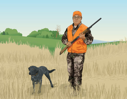 Safe carry, hunter with dog