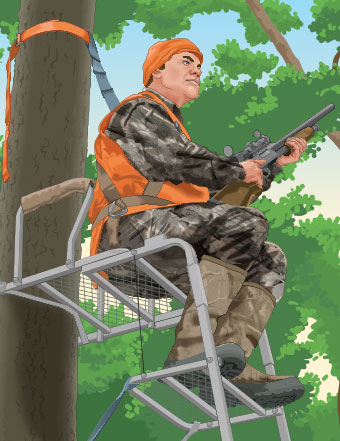 Hunter with a firearm in an elevated tree stand