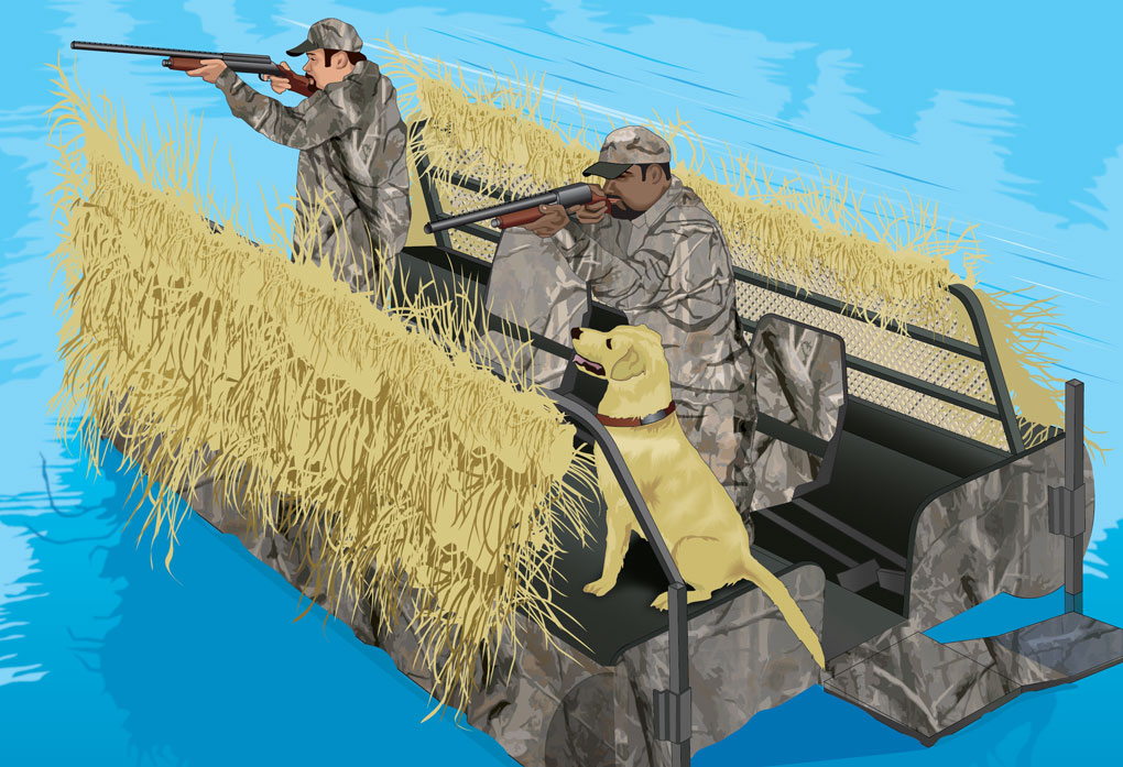 Duck hunters wearing camoflauge flotation jacket with dog in boat