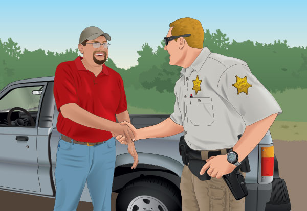 A hunter meeting with a game warden
