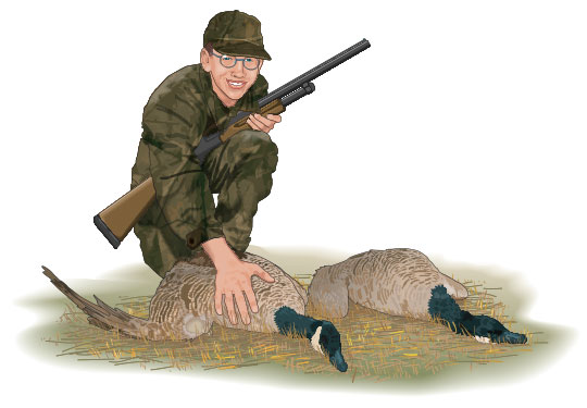 Hunter with downed ducks