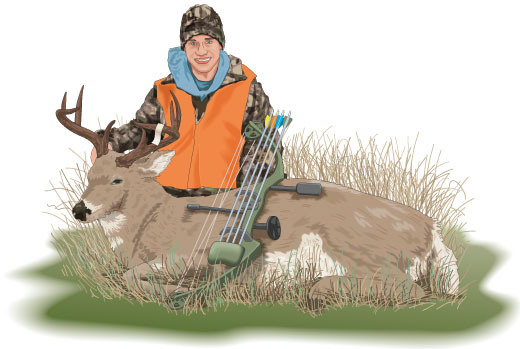 Hunter with trophy buck