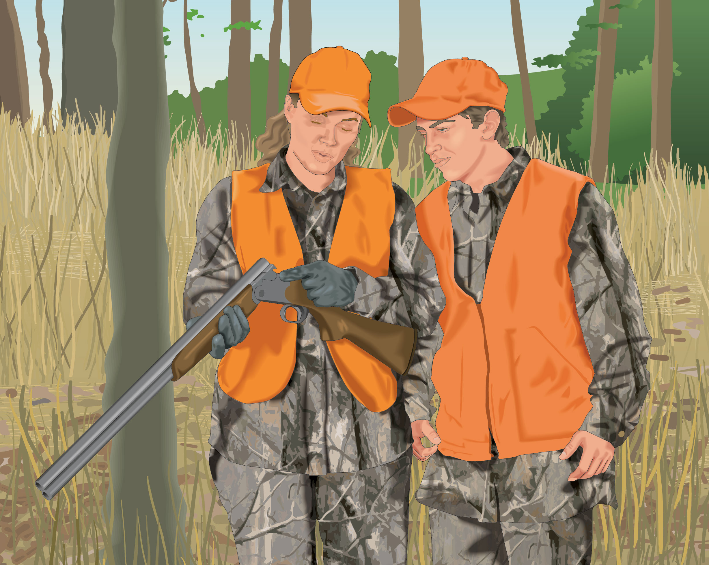 Hunter instructing younger hunter