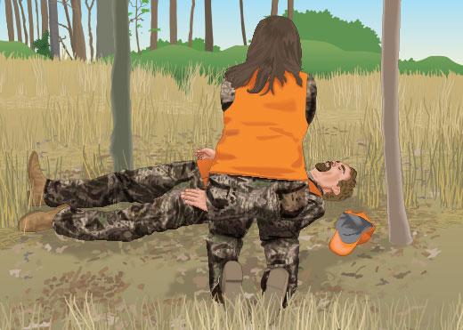 Hunter receiving CPR
