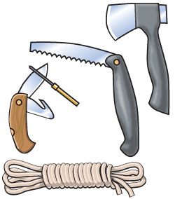 Blades and ropes for a survival kit