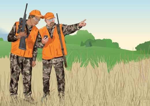 Two hunters reading a GPS