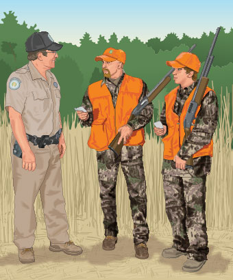 Hunters talking to a conservation officer